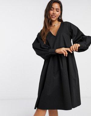 Черное свободное платье -Черный Gestuz