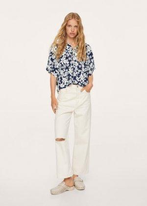 Струящаяся блузка с цветочным принтом - Good-h Mango. Цвет: темно-синий