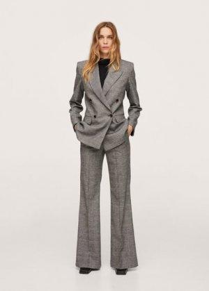 Костюмные брюки из шерстяной ткани в клетку - Marta Mango. Цвет: серый