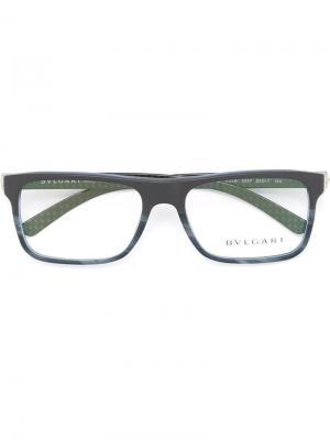 Оптические очки в прямоугольной оправе Bulgari. Цвет: серый