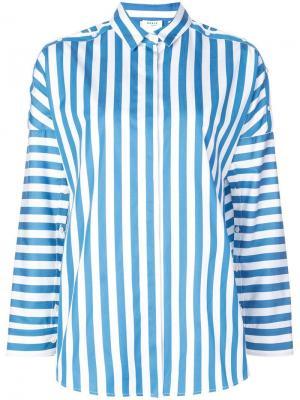 Полосатая рубашка с декоративными пуговицами на плечах Akris Punto. Цвет: синий