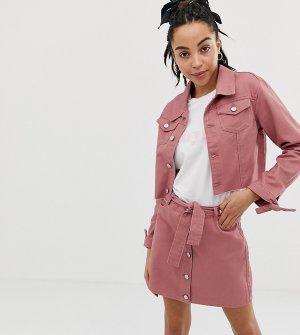 Короткая джинсовая куртка с завязками на манжетах -Коричневый Urban Bliss