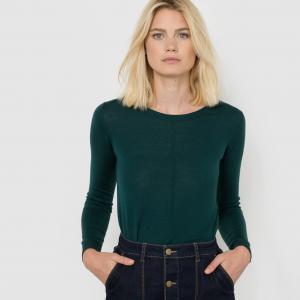 Пуловер Merinos с круглым вырезом из 100% шерсти мериноса R essentiel. Цвет: темно-зеленый,темно-синий,фиолетовый,черный