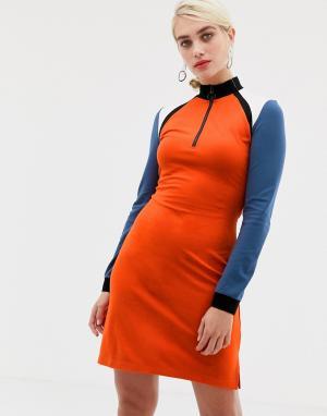 Трикотажное платье в стиле колор блок с молнией 2NDDAY-Мульти 2nd Day