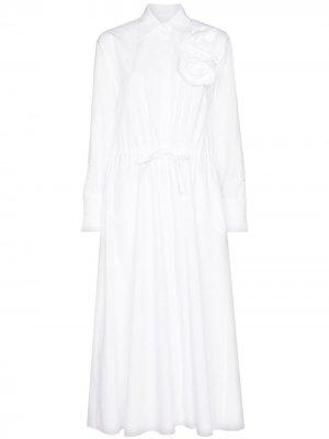 Платье-рубашка макси с аппликацией Valentino. Цвет: белый