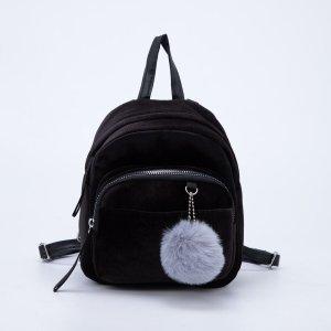 Рюкзак молодежный бархатный, 21х19х10 см, цвет чёрный NAZAMOK
