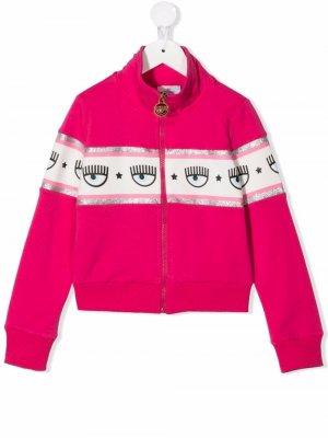 Logomania-tape bomber jacket Chiara Ferragni Kids. Цвет: розовый