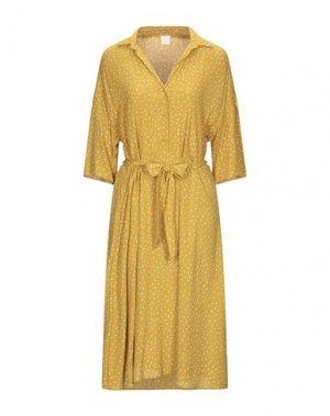 Платье длиной 3/4 DES PETITS HAUTS. Цвет: охра