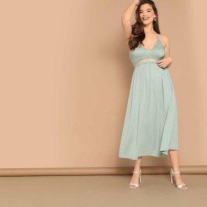Размера плюс кружевное вечернее платье на бретелях SHEIN. Цвет: зелёные