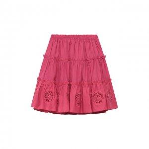 Хлопковая юбка Charo Ruiz Ibiza. Цвет: розовый