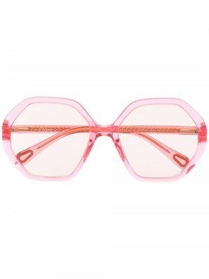 Солнцезащитные очки в массивной круглой оправе Chloé Kids. Цвет: розовый