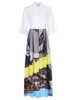 Платье хлопковое с принтом ERIKA CAVALLINI