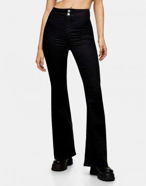 Полосатые облегающие джинсы черного цвета с расклешенными книзу штанинами -Черный цвет Topshop