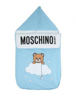 Детский конверт MOSCHINO KID. Цвет: небесно-голубой