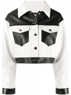 Укороченная куртка в стиле колор-блок Giuseppe Zanotti. Цвет: белый