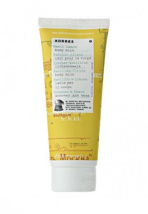 Молочко для тела Korres базилик и лимон 200 мл. Цвет: белый