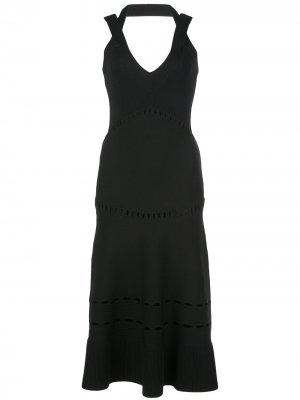 Платье миди Betti с вырезом халтер Alexis. Цвет: черный