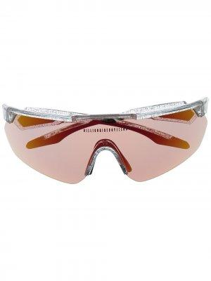 Солнцезащитные очки-маска с логотипом Billionaire Boys Club. Цвет: белый
