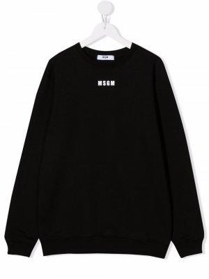 TEEN logo-print cotton sweatshirt MSGM Kids. Цвет: черный
