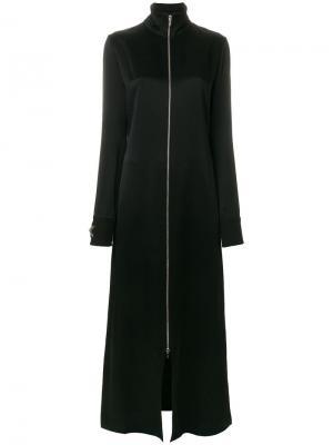 Длинное пальто со звездой из бусин и кристаллов Amen. Цвет: черный