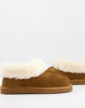 Коричневые слиперы из овечьей шкуры -Коричневый цвет Redfoot