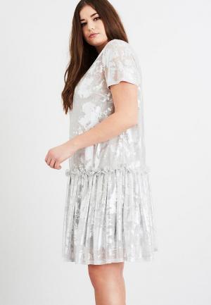 Платье LOST INK PLUS SWING DRESS IN METALLIC. Цвет: серебряный