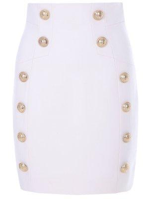 Мини-юбка с завышенной талией Balmain. Цвет: белый
