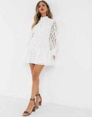 Белое кружевное платье мини с открытыми плечами-Белый Bardot