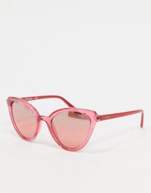 Розовые солнцезащитные очки кошачий глаз Vogue-Розовый цвет Versace