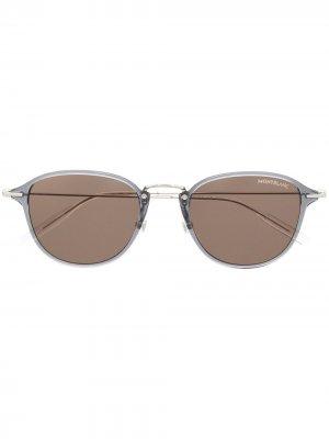 Солнцезащитные очки в круглой оправе Montblanc. Цвет: серый