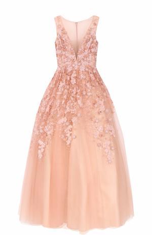 Платье в пол с пышной юбкой и декоративной отделкой Basix Black Label. Цвет: розовый