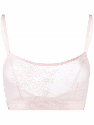 Кружевной бюстгальтер-бралетт Karl Lagerfeld. Цвет: розовый