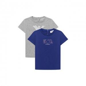 Комплект из двух футболок Emporio Armani. Цвет: синий