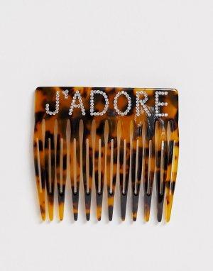 Черепаховый гребень с надписью JAdore из страз -Коричневый Glamorous