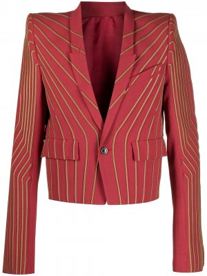Пиджак с вышивкой в полоску Rick Owens. Цвет: розовый