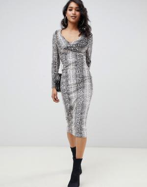 Бархатное платье миди с узором змеиной кожи ASOS DESIGN
