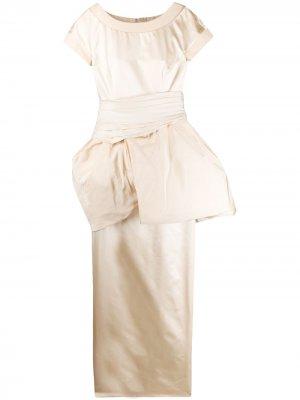 Вечернее платье 1990-х годов с дутой вставкой Versace Pre-Owned. Цвет: нейтральные цвета