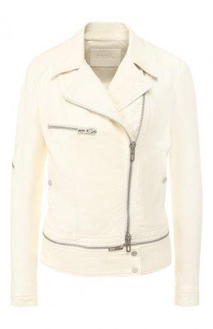 Кожаная куртка DROMe. Цвет: белый
