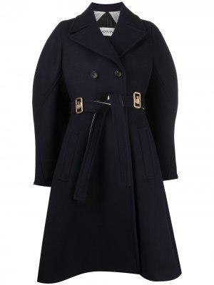 Двубортное пальто с логотипом LANVIN. Цвет: синий