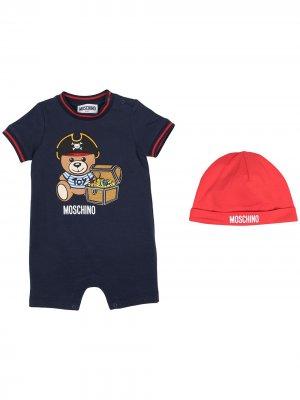 Комбинезон для новорожденного Teddy Bear с короткими рукавами Moschino Kids. Цвет: синий