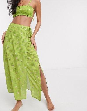 Зеленый саронг миди с цветочным принтом Fashion Union
