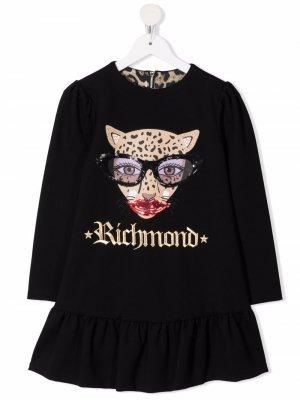 Embroidered-logo long-sleeved dress John Richmond Junior. Цвет: черный