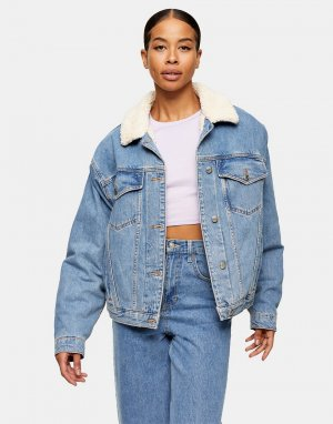 Синяя джинсовая куртка в стиле oversized с отделкой из искусственного меха -Коричневый цвет Topshop