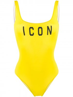 Слитный купальник Icon с принтом Dsquared2. Цвет: желтый