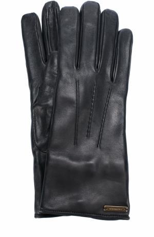 Кожаные перчатки Burberry. Цвет: черный