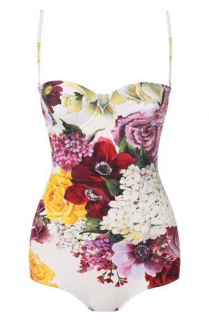 Слитный купальник Dolce & Gabbana. Цвет: белый
