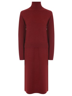 Платье-миди из шерсти CELINE. Цвет: бордовый