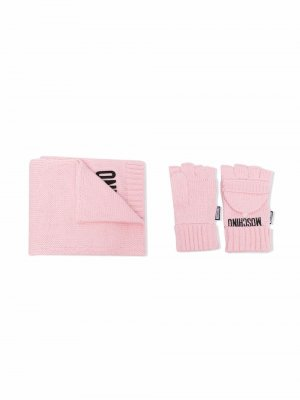 Logo-knit scarf set Moschino Kids. Цвет: розовый
