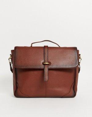 Коричневая кожаная сумка-сэтчел -Коричневый ASOS DESIGN