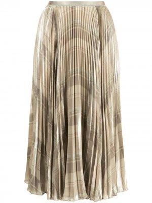 Плиссированная юбка в клетку Polo Ralph Lauren. Цвет: зеленый